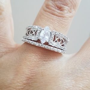 0.50ct Marquis Engagement Ring 2pc set